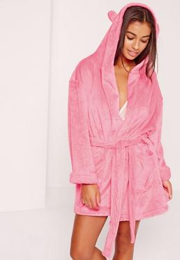 Soft Fleece Dressing Gown With Ears Hot Pink