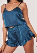 Niebieski satynowy krótki komplet piżamowy
