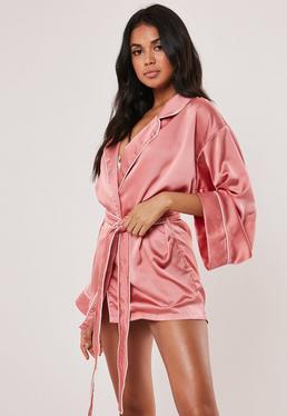 Kimono Piped Detail Silk Robe Pink