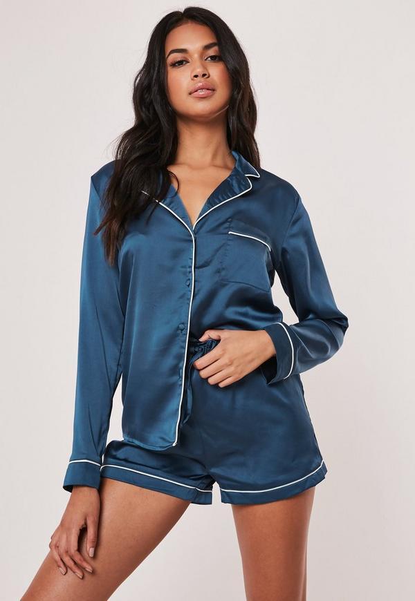 Blue Piping Detail Short Pyjama Set