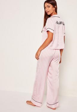 Slogan Striped Pyjama Set Pink