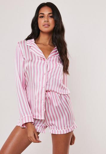9f4455cbc4f6 Pink Striped Satin Short Pyjama Set