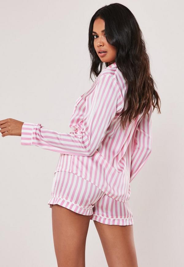 Pink Striped Satin Short Pyjama Set. Previous Next 842614658