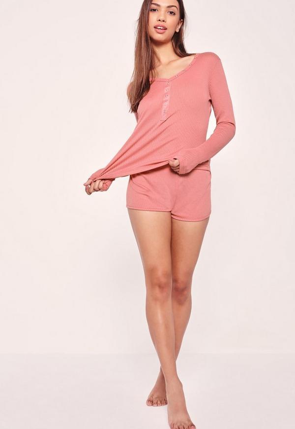 Ribbed Long Sleeve Pyjama Set Pink