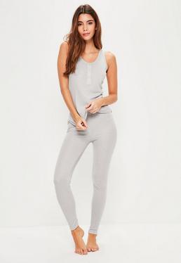 Pyjama long gris côtelé sans manches