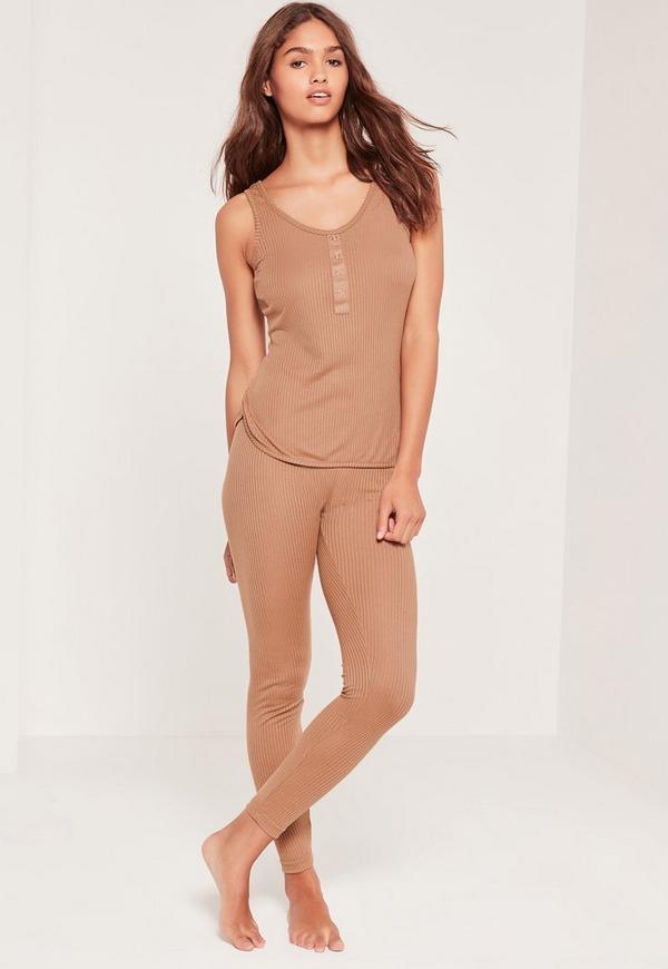 Ribbed Vest and Legging Pj Set Camel