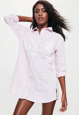 Camisola de dormir con estampado de rayas y bajo redondeado rosa