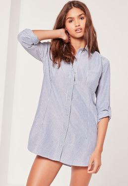 Curve Hem Stripe Nightshirt Blue