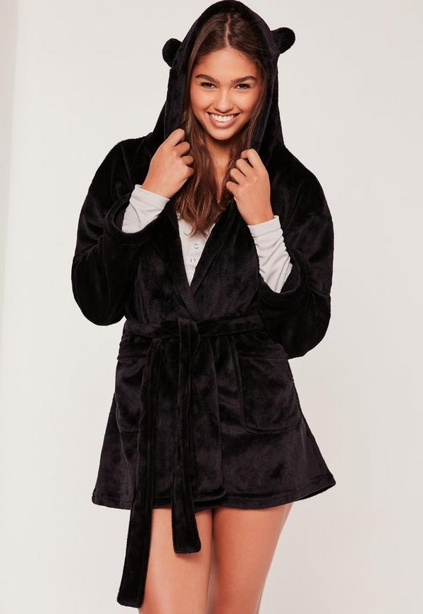 Soft Fleece Dressing Gown With Ears Black
