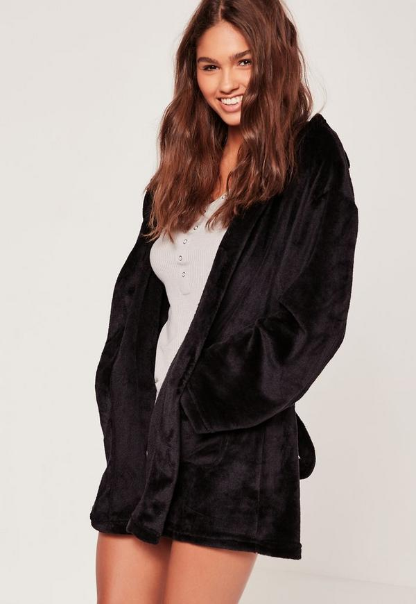 Soft Fleece Dressing Gown With Ears Black | Missguided