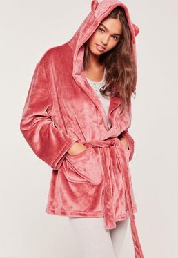 Bademantel aus weichem Fleece mit Ohren in Pink