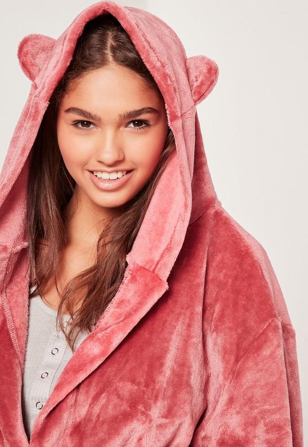 Bata de polar suave con orejas rosa   Missguided