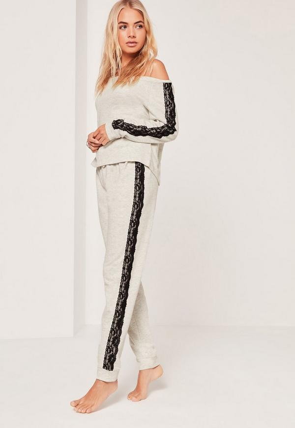 Lace Detail Off The Shoulder Lounge Tracksuit Grey