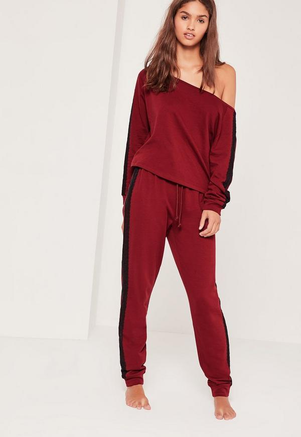 Lace Detail Off The Shoulder Lounge Tracksuit Burgundy
