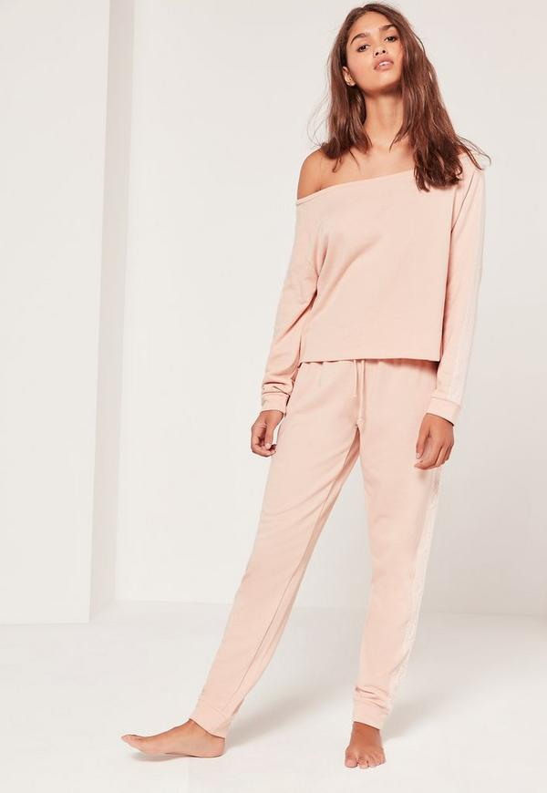 Lace Detail Off The Shoulder Lounge Tracksuit Nude