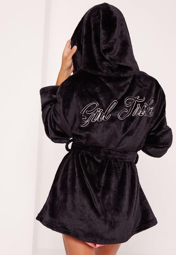 Girl Tribe Dressing Gown Black