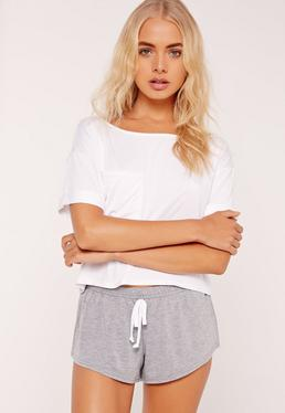 White Front Pocket Pajama Set
