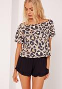 Leopard Top Pyjama Set Print Black