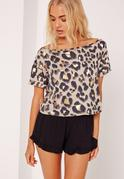Leopard Top Pyjama Set Print Black