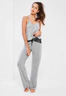 Grey Lace Back Detail Pyjama Set