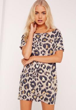 Chemise de nuit nude imprimé léopard