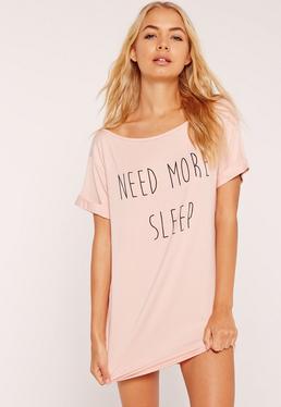 T-shirt de nuit nude Need More Sleep