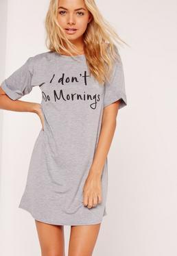 Chemise de nuit T-shirt gris I Don't Do Mornings