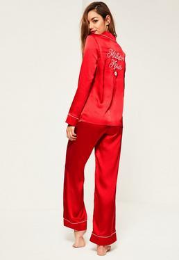 Red Piping Detail Pyjama Set