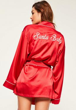 Red Santa Baby Kimono Satin Robe