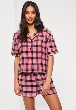 Pink Checked Shirt & Shorts Pajama Set