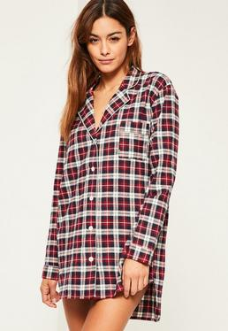 Red Checked Long Sleeve Nightshirt