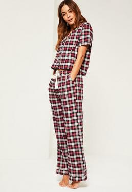 Red Checked Cropped Pyjama Set