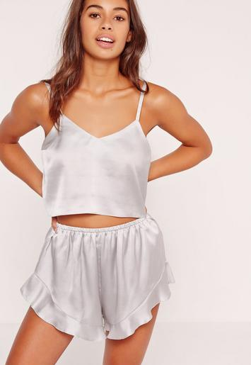 Cropped Cami Pj Set Silver Missguided