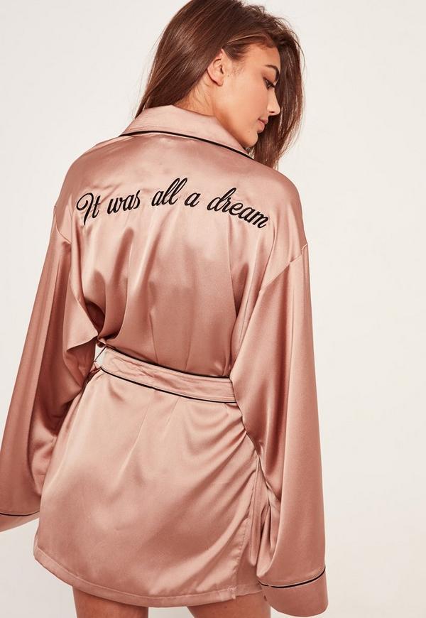 Pink Slogan Contrast Piping Silk Robe Missguided Australia