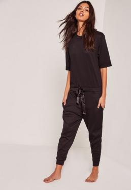 Ribbed Slouch Loungewear Jumpsuit Black
