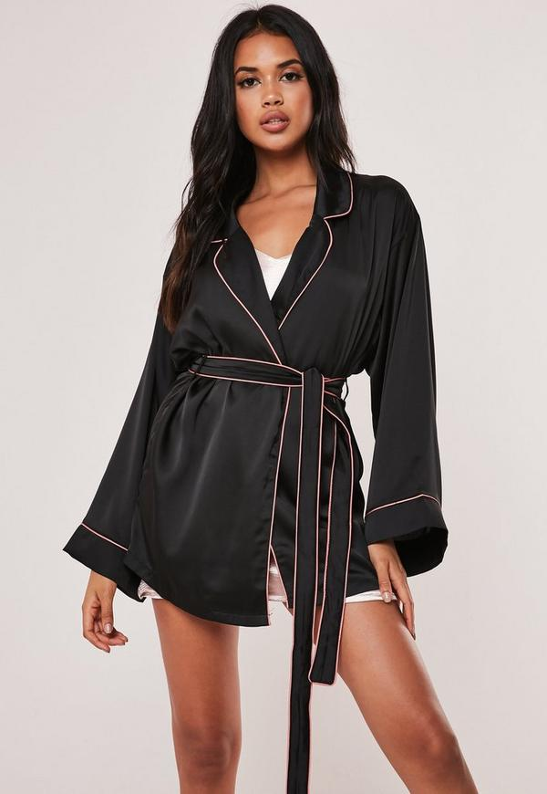 Black Kimono Piping Detail Satin Robe by Missguided