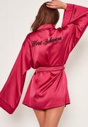 Pink Slogan Piping Silk Robe