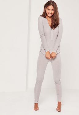 Pyjama long gris côtelé