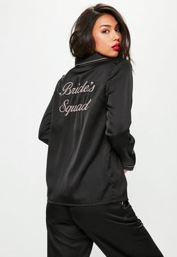 Black Bride Squad Satin Pyjama Set