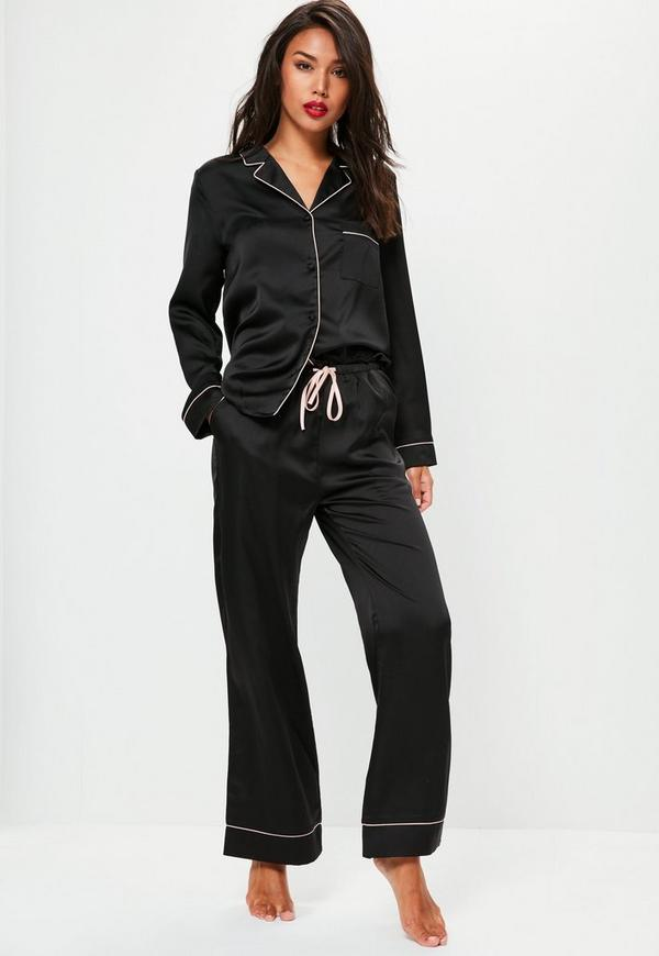 Black Silk Pajamas: Black Bride Squad Satin Pajama Set