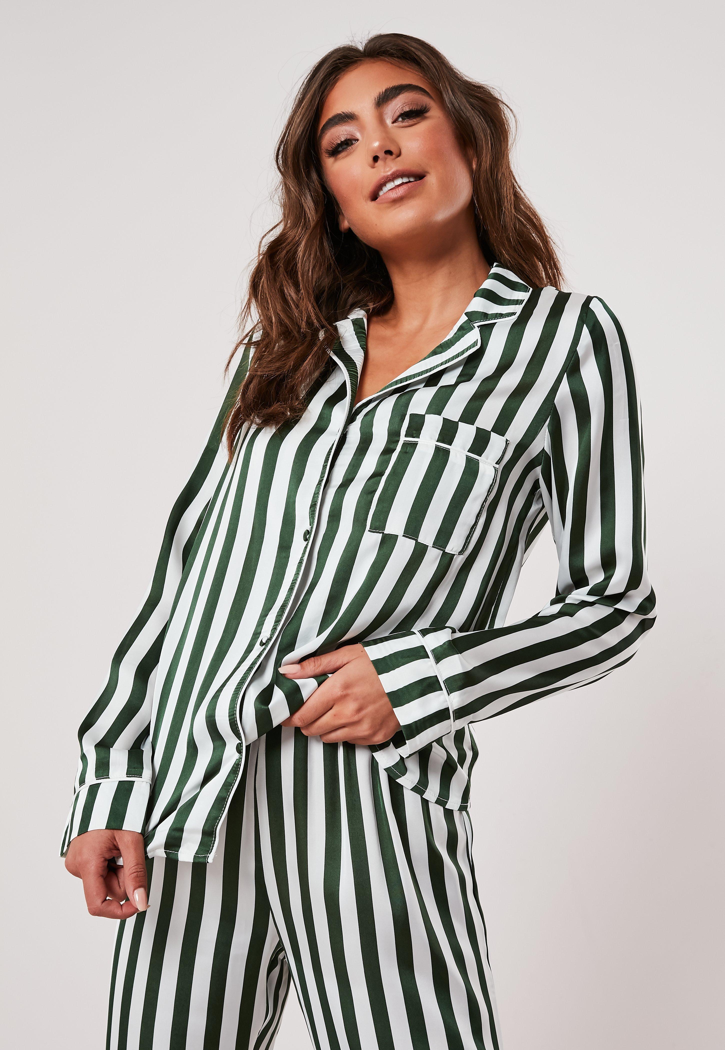 2019 original exceptional range of styles new photos Green Satin Stripe Pyjama Shirt