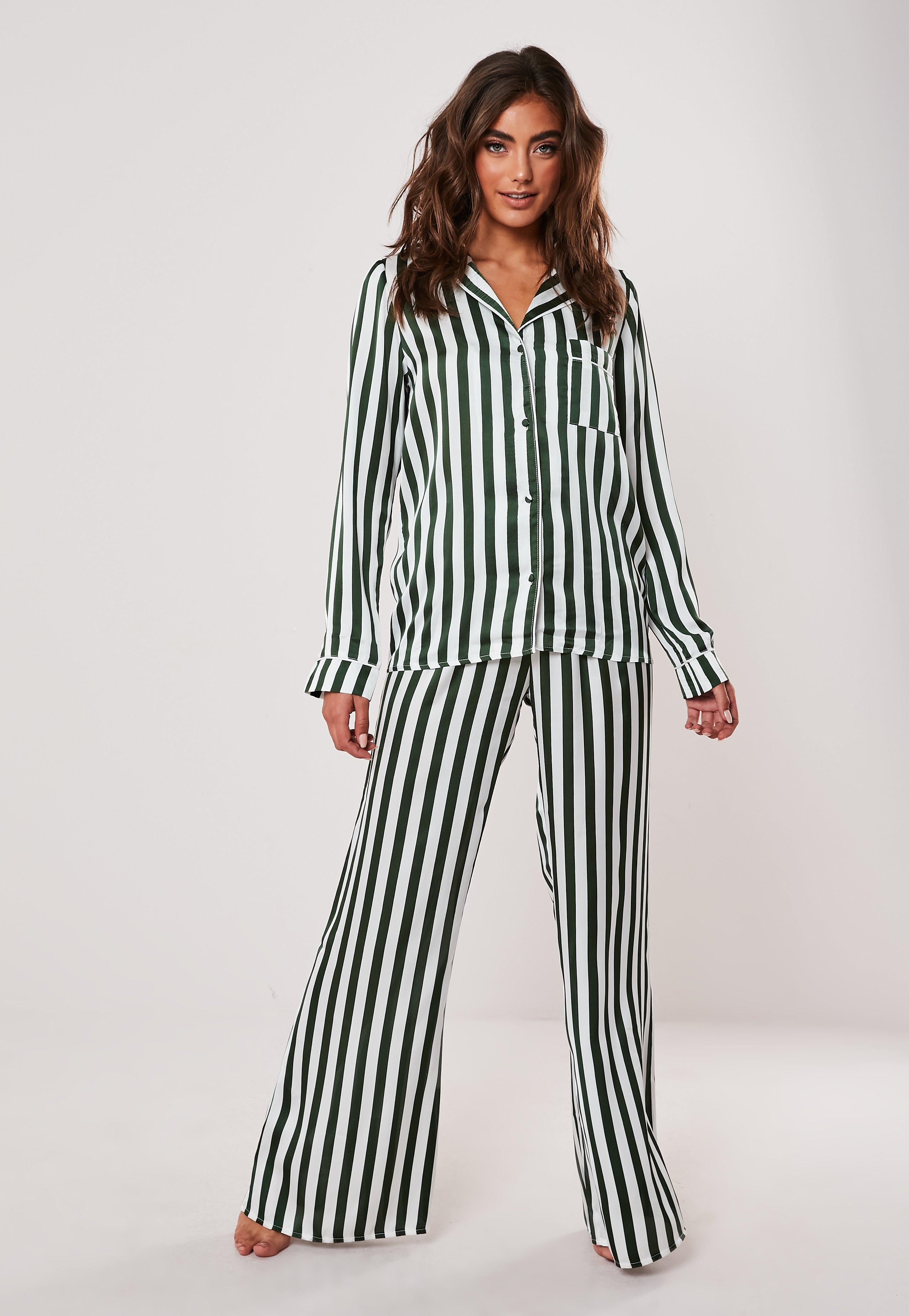 buy cheap super cheap cheapest Green Satin Striped Pyjama Bottoms