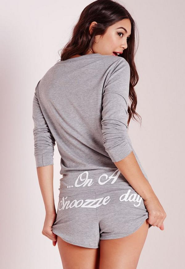 On A Snooze Day Pyjama Set Grey