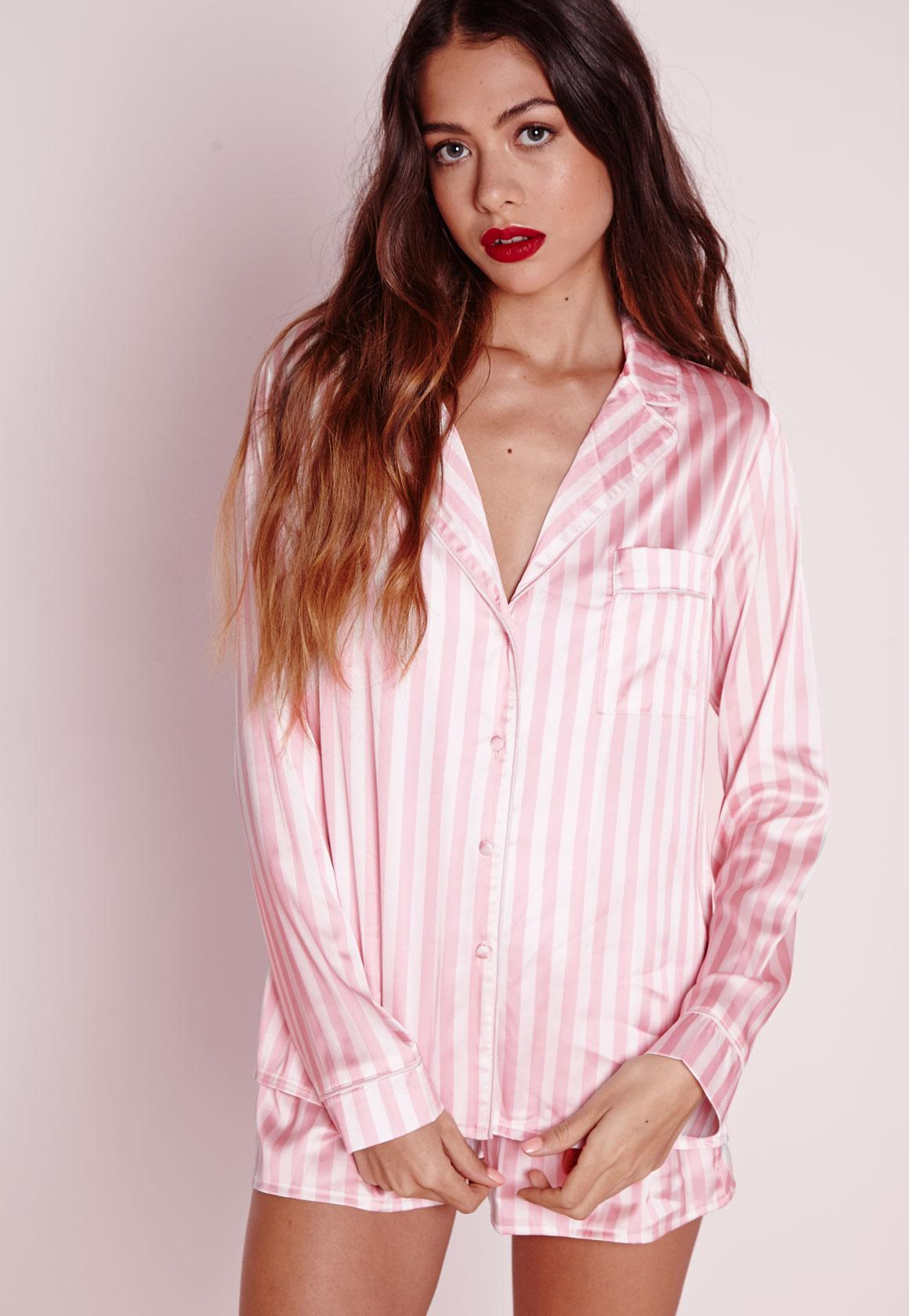 Cheap Visit New Factory Price Missguided Pink Stripe Tie Front Short Pyjama Set nkAyMaJY4f