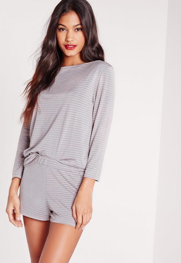 Slash Neck Top Striped Short Pyjama Set Grey