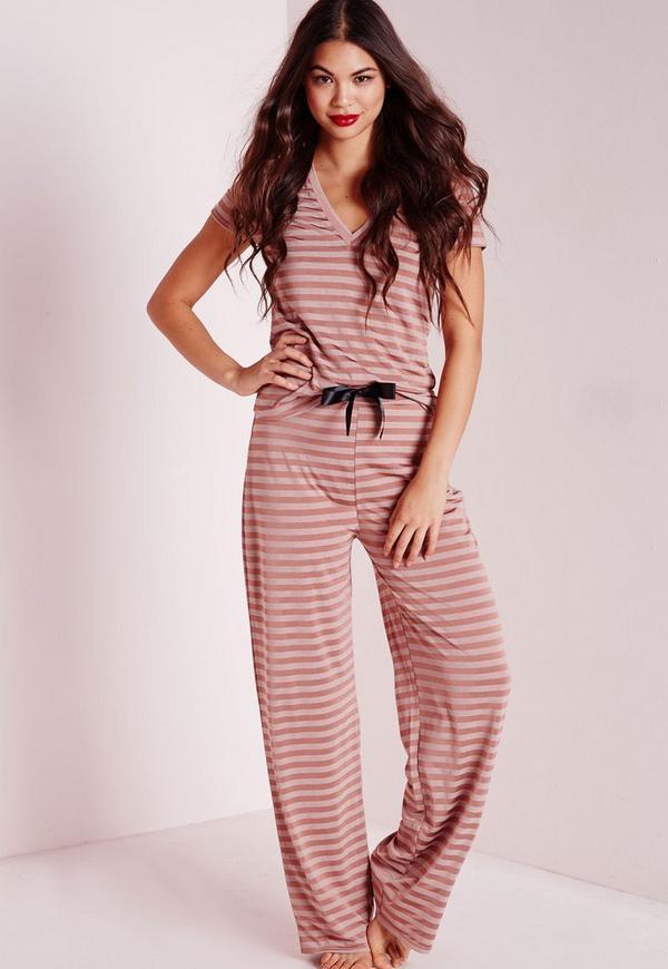 Striped V-Neck Pyjama Set Nude