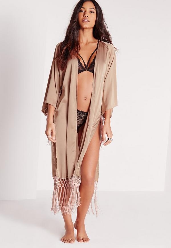 Luxe Tassel Satin Dressing Gown Nude