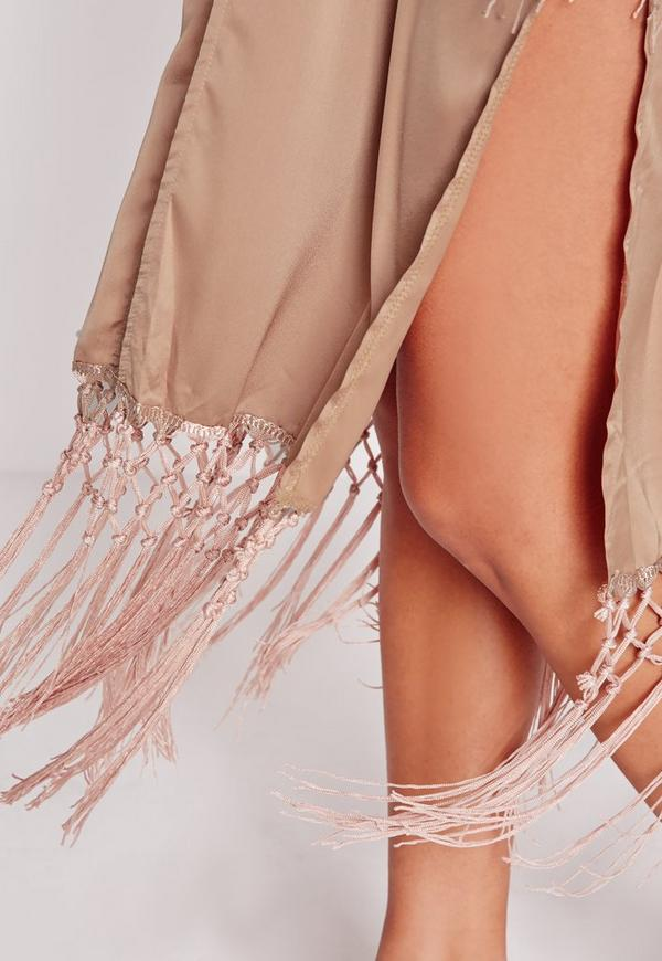 Luxe Tassel Satin Night Gown Nude | Missguided