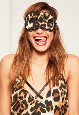 Schlafmaske im Leopardenmuster in Braun