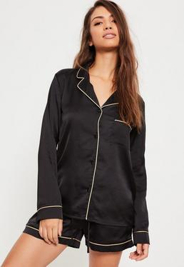 Pyjama noir bordures contrastantes